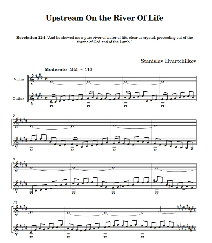 """Upstream on the River of Life"" (duo guitar + violin) Image"